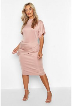 Womens Mauve Plus Scuba High Neck Wide Sleeve Midi Dress