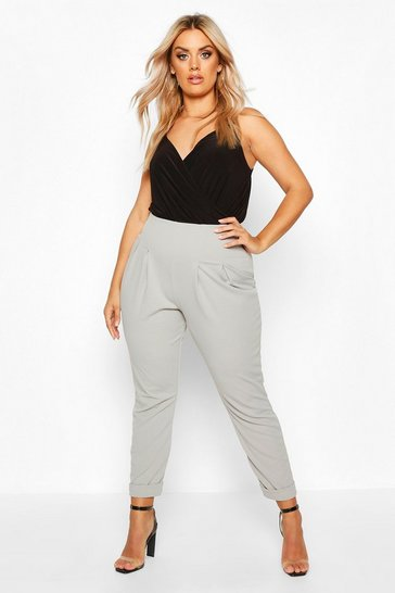Grey Plus Crepe Turn Up Tailored Trousers