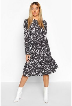 Dam Black Petite Smudge Spot Smock Midi Dress