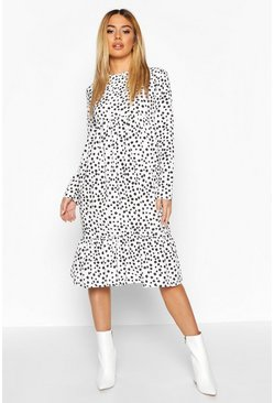 Womens White Petite Smudge Spot Smock Midi Dress