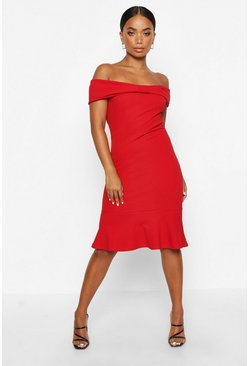 Womens Red Petite Bow Detail Peplum Hem Dress
