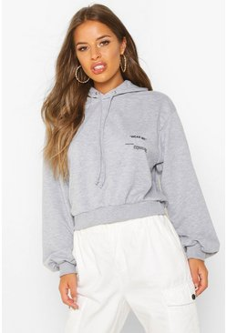 Womens Grey Petite Care Label Hoody