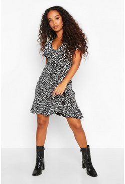 Black Petite Dalmation Spot Tea Dress