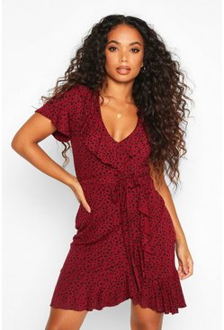 Womens Wine Petite Dalmation Spot Tea Dress
