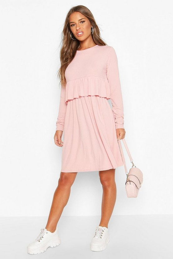 Rose Petite Ribbed Ruffle Long Sleeve Smock Dress