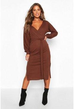 Womens Chocolate Petite Wrap Ribbed Midi Dress