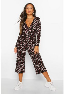 Womens Black Petite Ditsy Floral Long Sleeve Culotte Jumpsuit