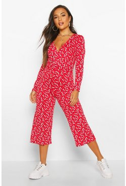 Red Petite Ditsy Floral Long Sleeve Culotte Jumpsuit