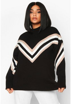 Womens Black Plus Chevron Oversized Jumper