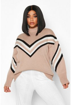 Stone Plus Chevron Oversized Jumper