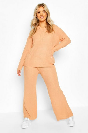 Camel Plus Knitted Loose Fitting Co-ord Set