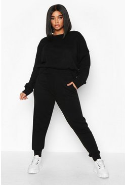 Womens Black Plus Slash Neck Knitted Set