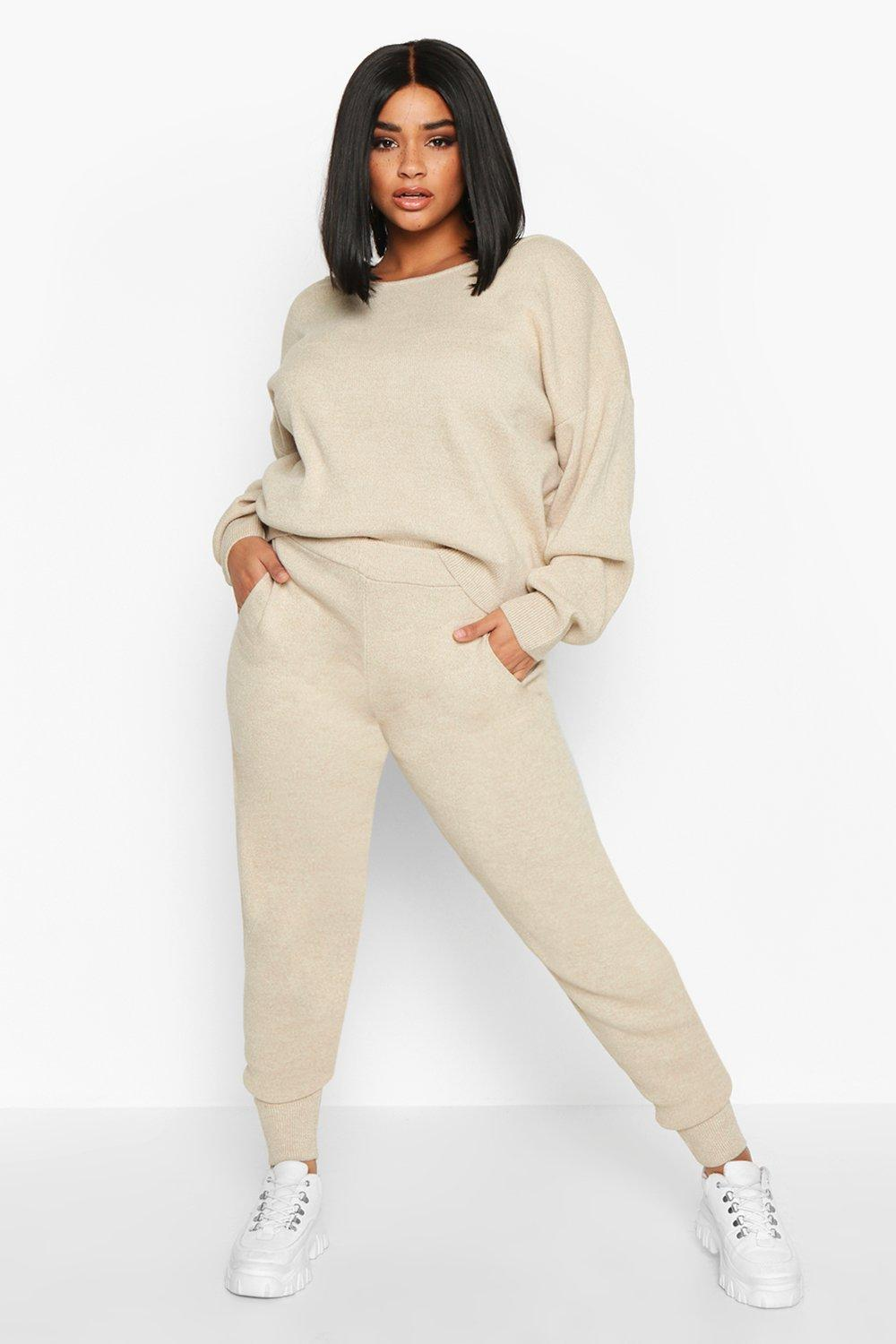 Plus Slash Neck Knitted Set by Boohoo