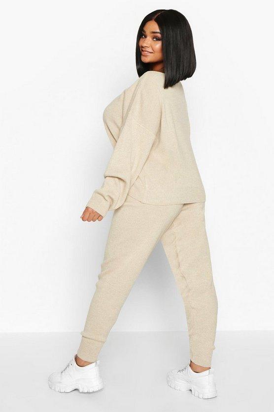 Plus Slash Neck Knitted Set