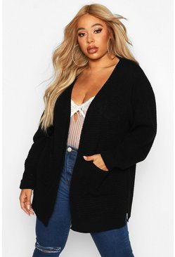 Womens Black Plus Waffle Knitted Chunky Oversized Cardigan