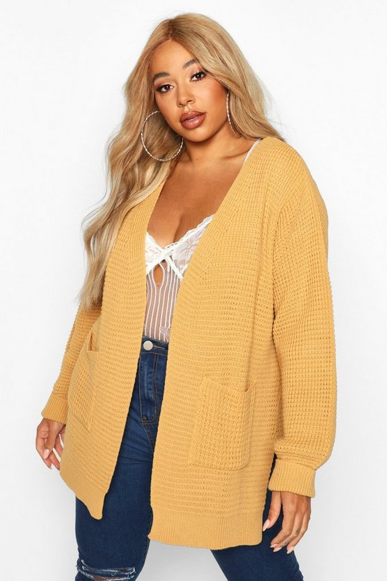 Womens Camel Plus Waffle Knitted Chunky Oversized Cardigan