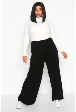 Dam Black Plus Knitted Rib Trouser