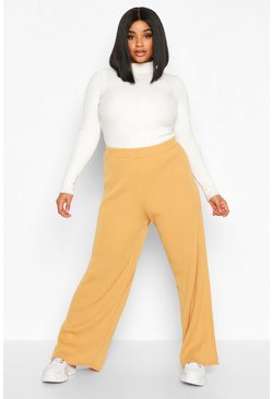 Camel Plus Knitted Rib Trouser