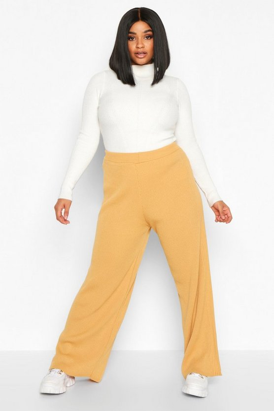 Plus Knitted Rib Trouser