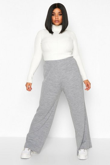 Womens Grey Plus Knitted Rib Trouser