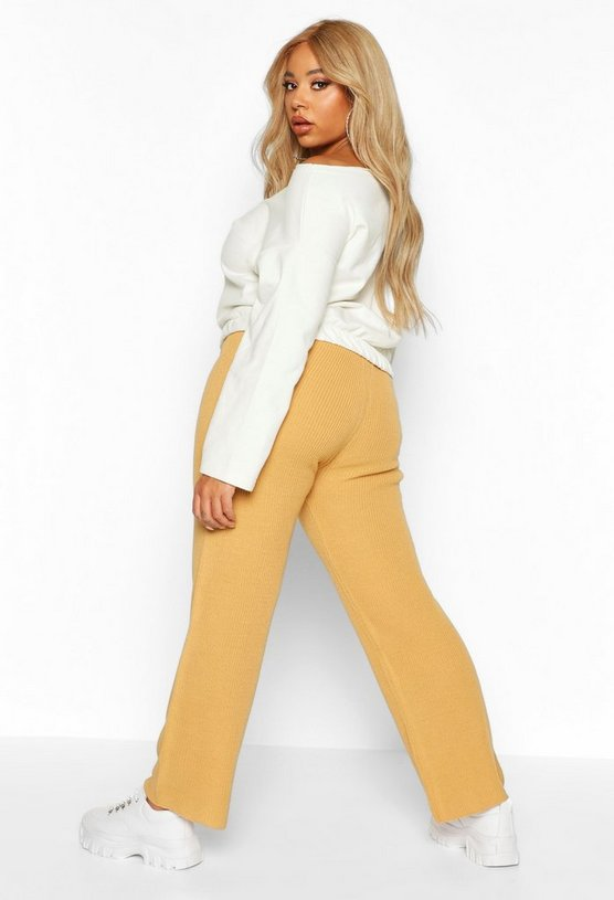 Plus Knitted Rib Wide Leg Trousers