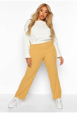 Camel Plus Knitted Rib Wide Leg Pants