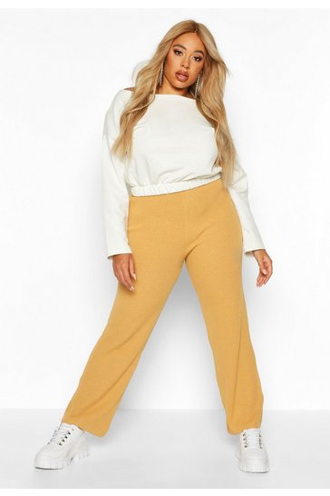 Camel Plus Knitted Rib Wide Leg Trousers