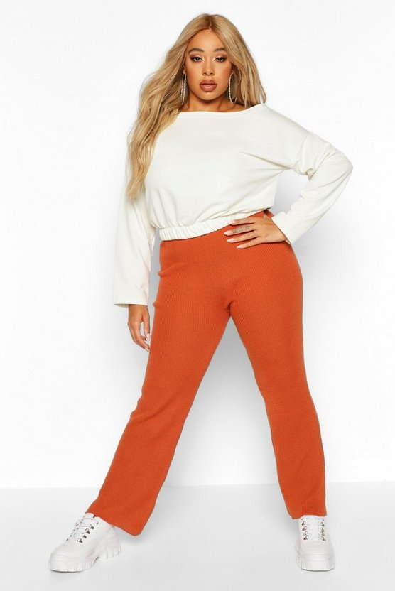 Womens Terracotta Plus Knitted Rib Wide Leg Trousers