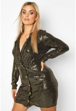 Womens Gold Plus Sequin Wrap Blazer Dress