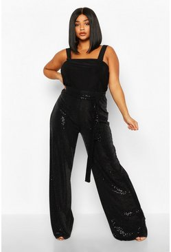 Womens Black Plus Sequin High Waisted Trousers