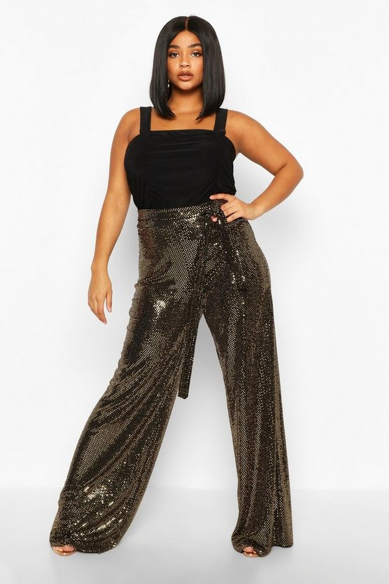 Gold Plus Sequin High Waisted Pants