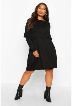 Womens Black Plus Ruffle Smock Dress