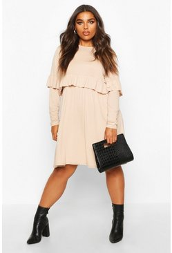 Womens Stone Plus Ruffle Smock Dress