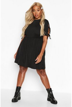 Womens Black Plus Tie Sleeve Detail Smock Dress
