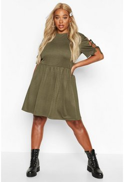 Womens Khaki Plus Tie Sleeve Detail Smock Dress