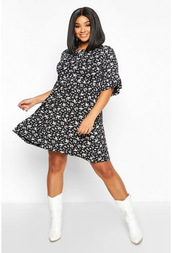 Black Plus Ditsy Floral Ruffle Smock Dress
