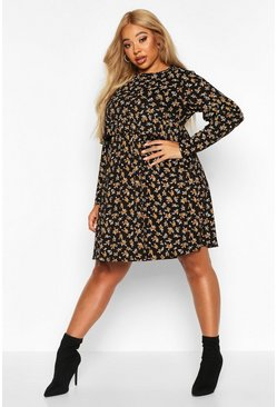 Womens Black Plus Ditsy Floral Ruffle Smock Dress