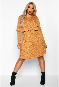 Mustard Plus Ditsy Floral Ruffle Smock Dress