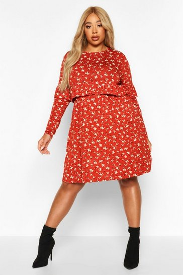 Rust Plus Ditsy Floral Ruffle Smock Dress