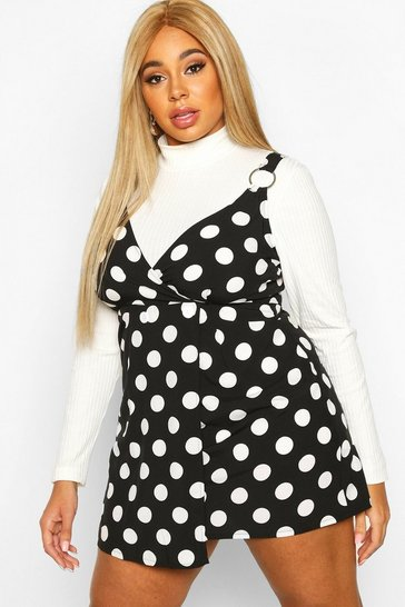 Womens Black Plus Polka Dot Wrap Pinafore Dress