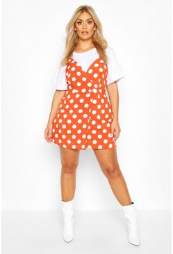 Terracotta Plus Polka Dot Wrap Pinafore Dress
