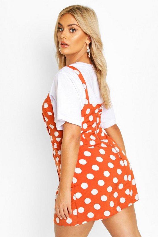 Plus Polka Dot Wrap Pinafore Dress