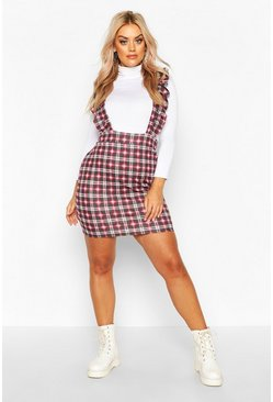Womens Wine Plus Check Ruffle Pinafore Dress