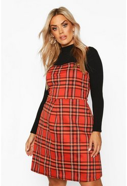 Rust Plus Check Button Detail Pinafore Dress