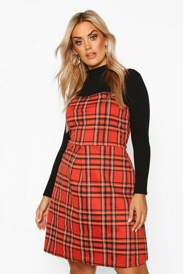 Womens Rust Plus Check Button Detail Pinafore Dress