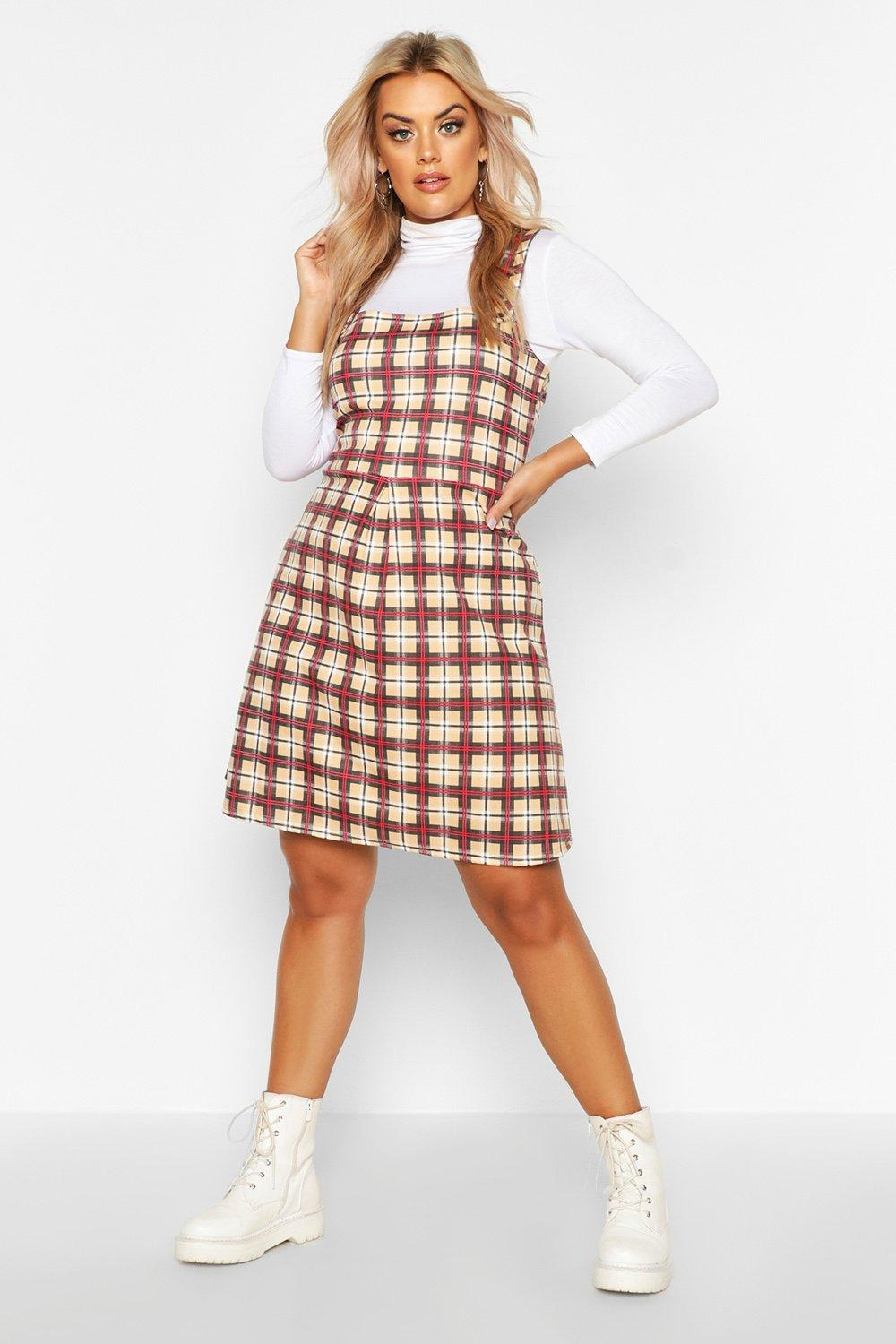 new varieties choose newest fashion styles Plus Check Button Detail Pinafore Dress | Boohoo