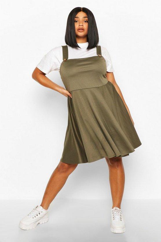 Plus Button Detail Skater Pinafore Dress
