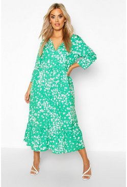 Womens Green Plus Floral V-Neck Smock Midi Dress