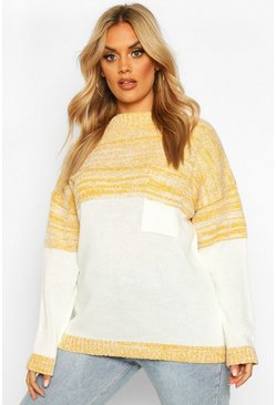 Mustard Plus Colour Block Oversized Pocket Jumper