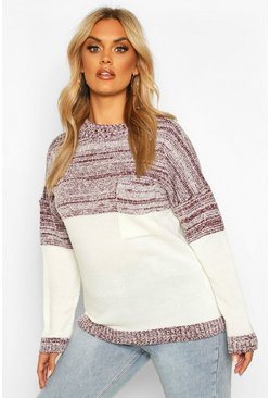 Womens Wine Plus Colour Block Oversized Pocket Jumper